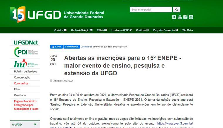 Abertas as inscrições para o 15º ENEPE – maior evento de ensino, pesquisa e extensão da UFGD