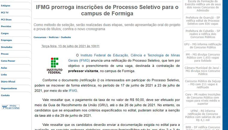 IFMG prorroga inscrições de Processo Seletivo para o campus de Formiga
