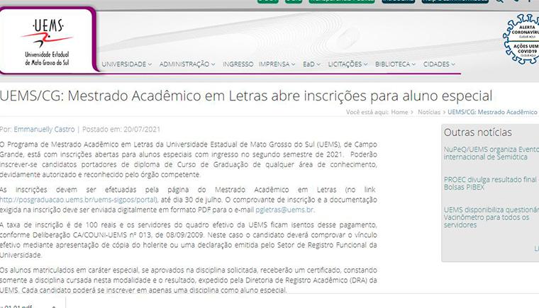 UEMS/CG: Mestrado Acadêmico em Letras abre inscrições para aluno especial